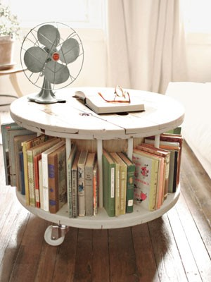 6. SIMPHOME.COM Cable Spool Bookshelf