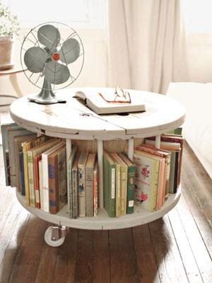 6. SIMPHOME.COM Cable Spool Bookshelf