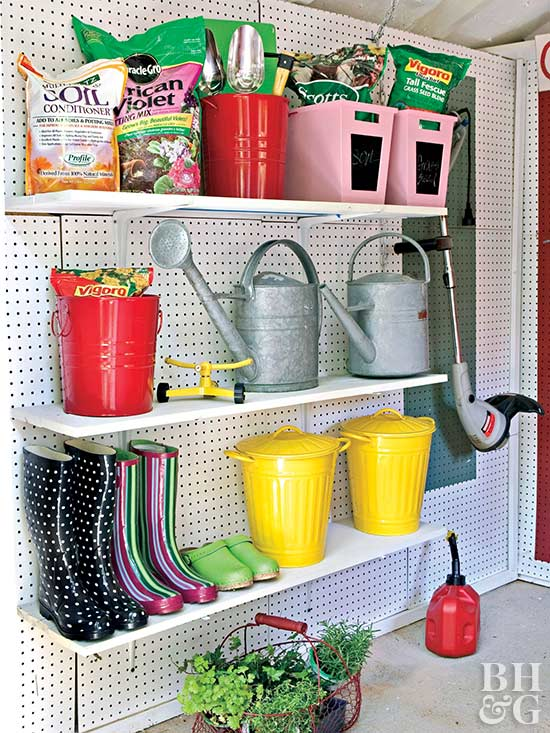 6.SIMPHOME.COM Stylish Storage Shed with Closet Shelving