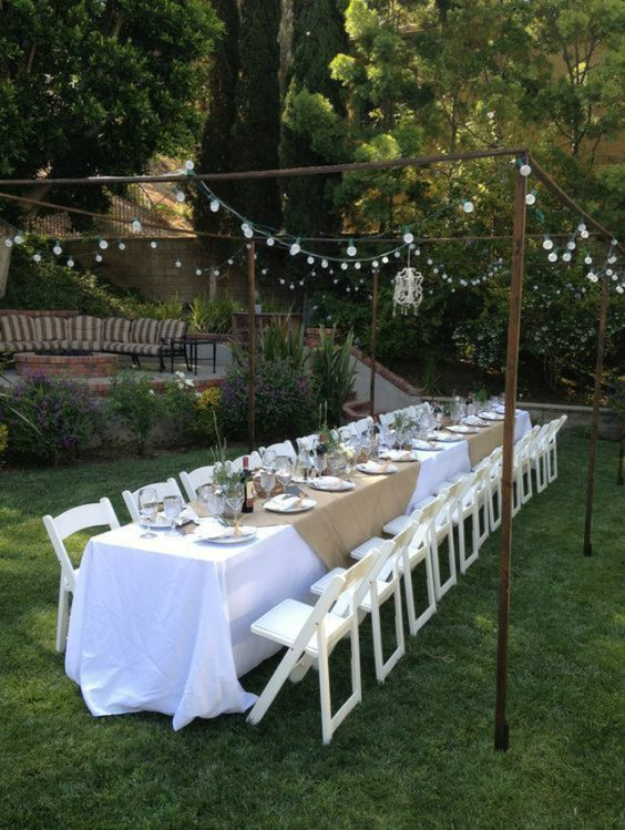 7.Long table backayrd wedding ideas via Simphome.com