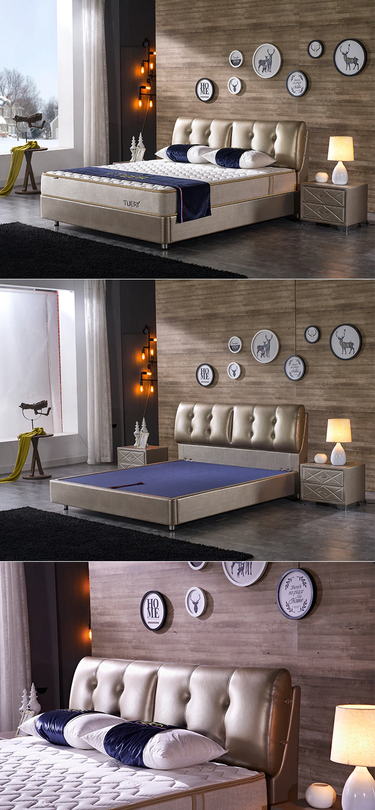 7.SIMPHOME.COM Gold Colored Bedroom with Wood Accents