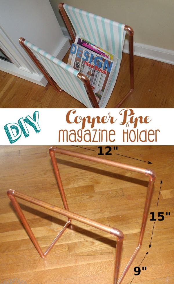 8. SIMPHOME.COM Copper Pipe Magazine Holder