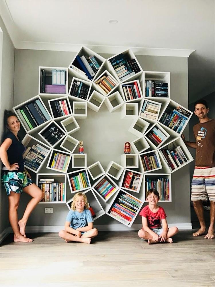 8. SIMPHOME.COM Flower Inspired Bookshelves