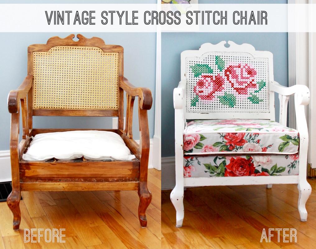 9. SIMPHOME.COM Cross Stitch Antique Chair