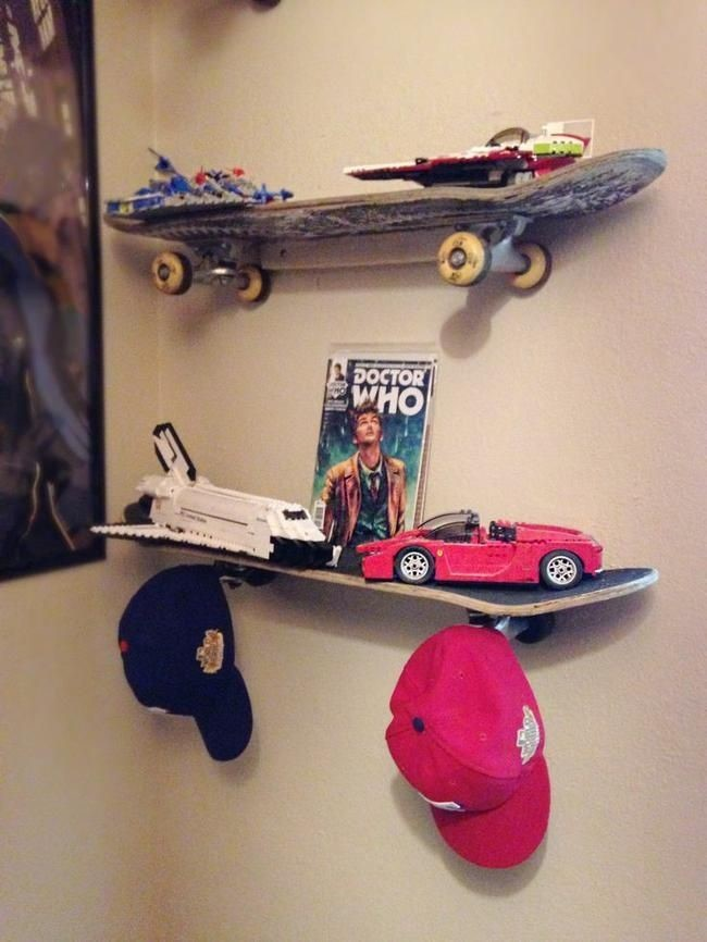9. Skateboard Floating Shelves via SIMPHOME.COM