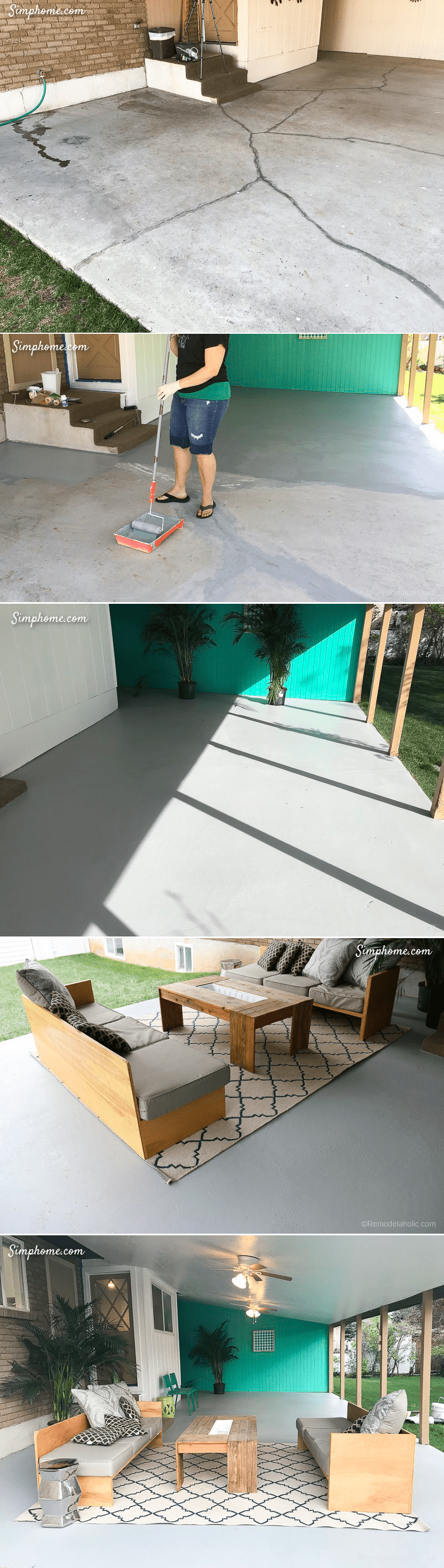 9.Paint the Concrete Patio by Simphome.com