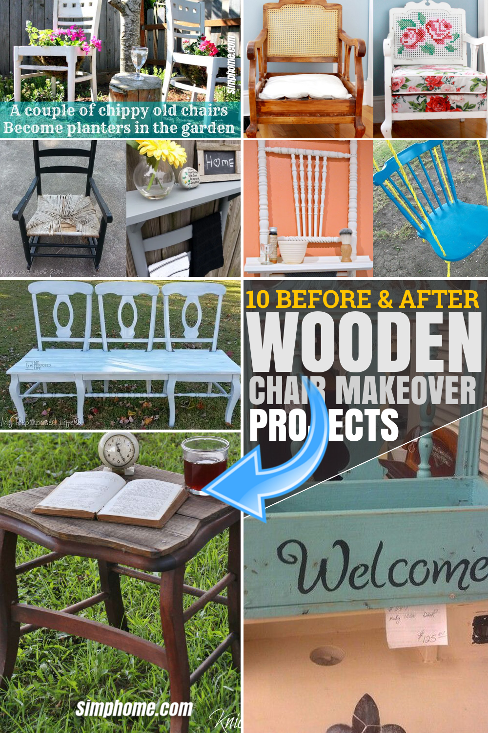 SIMPHOME.COM 10 Before and After Wooden Chair Makeover Projects Pinterest Featured Image