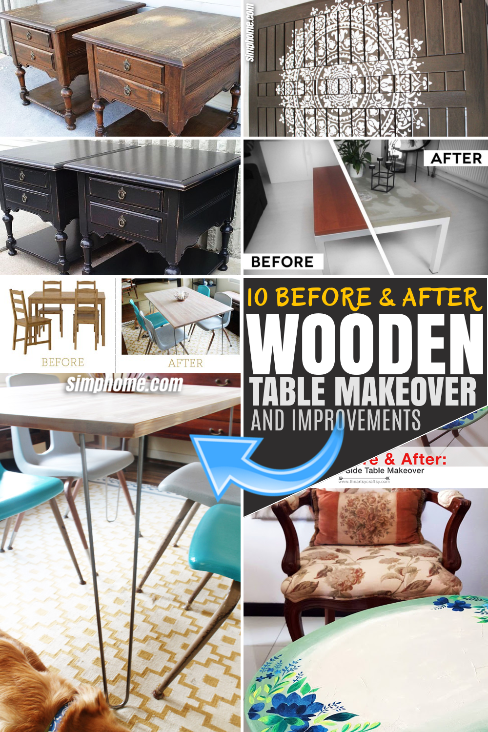 SIMPHOME.COM 10 Before and After Wooden Table Makeover Project Featured PINTEREST Image