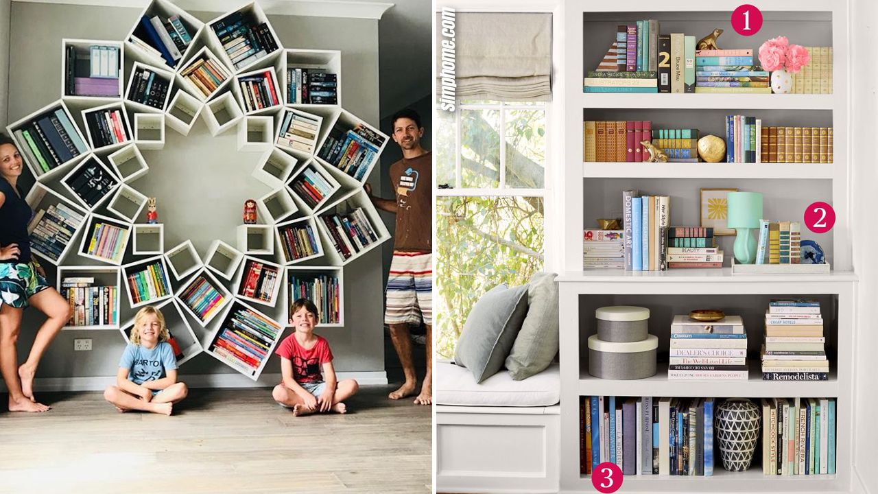 SIMPHOME.COM 10 DIY Bookshelf Organization Ideas that will also Decorate Your Room Featured