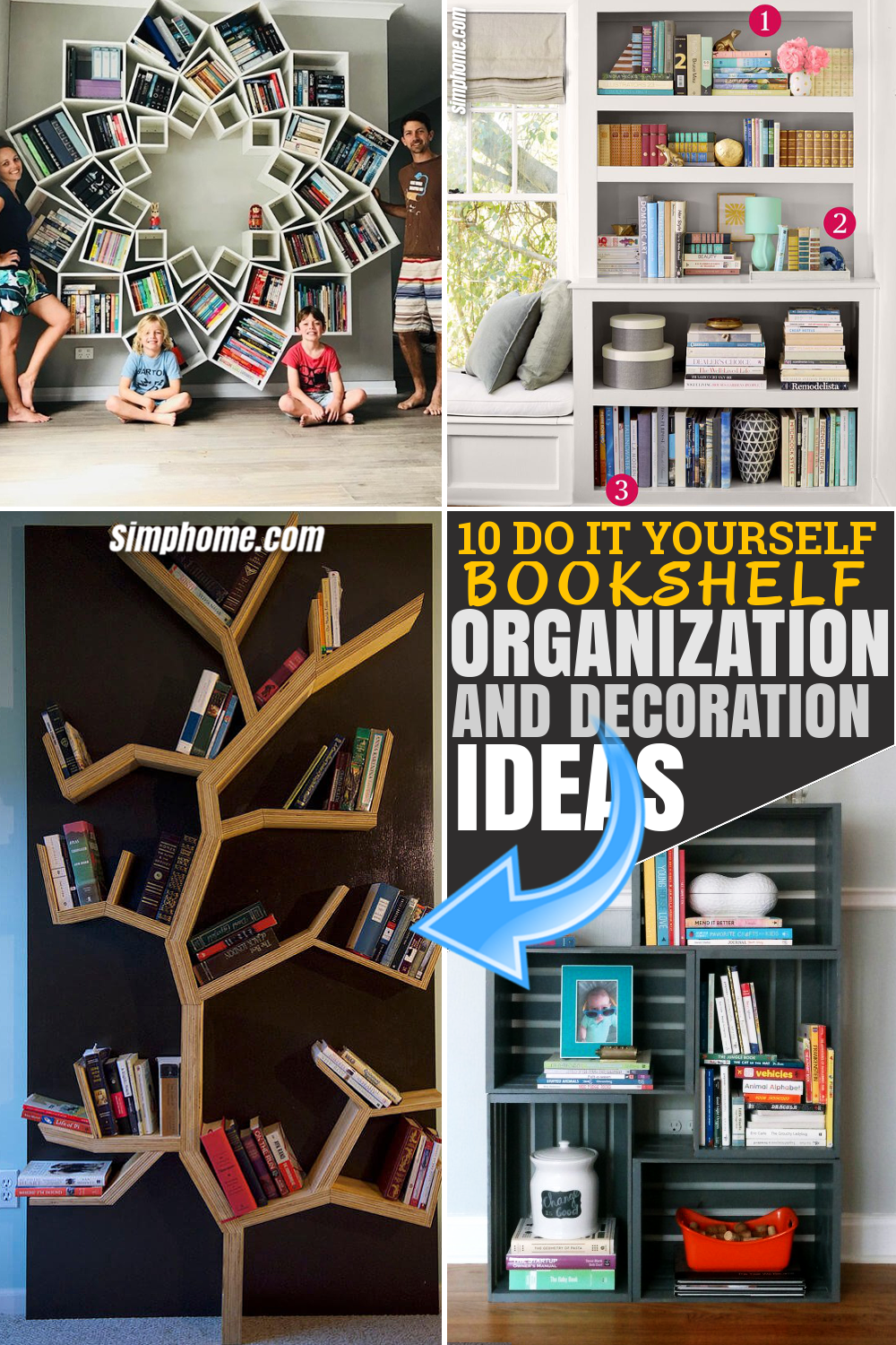 SIMPHOME.COM 10 DIY Bookshelf Organization and Decoration Ideas Pinterest Image