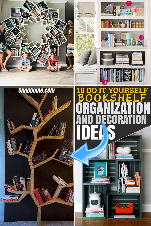 SIMPHOME.COM 10 DIY Bookshelf Organization and Decoration Ideas Pinterest Image