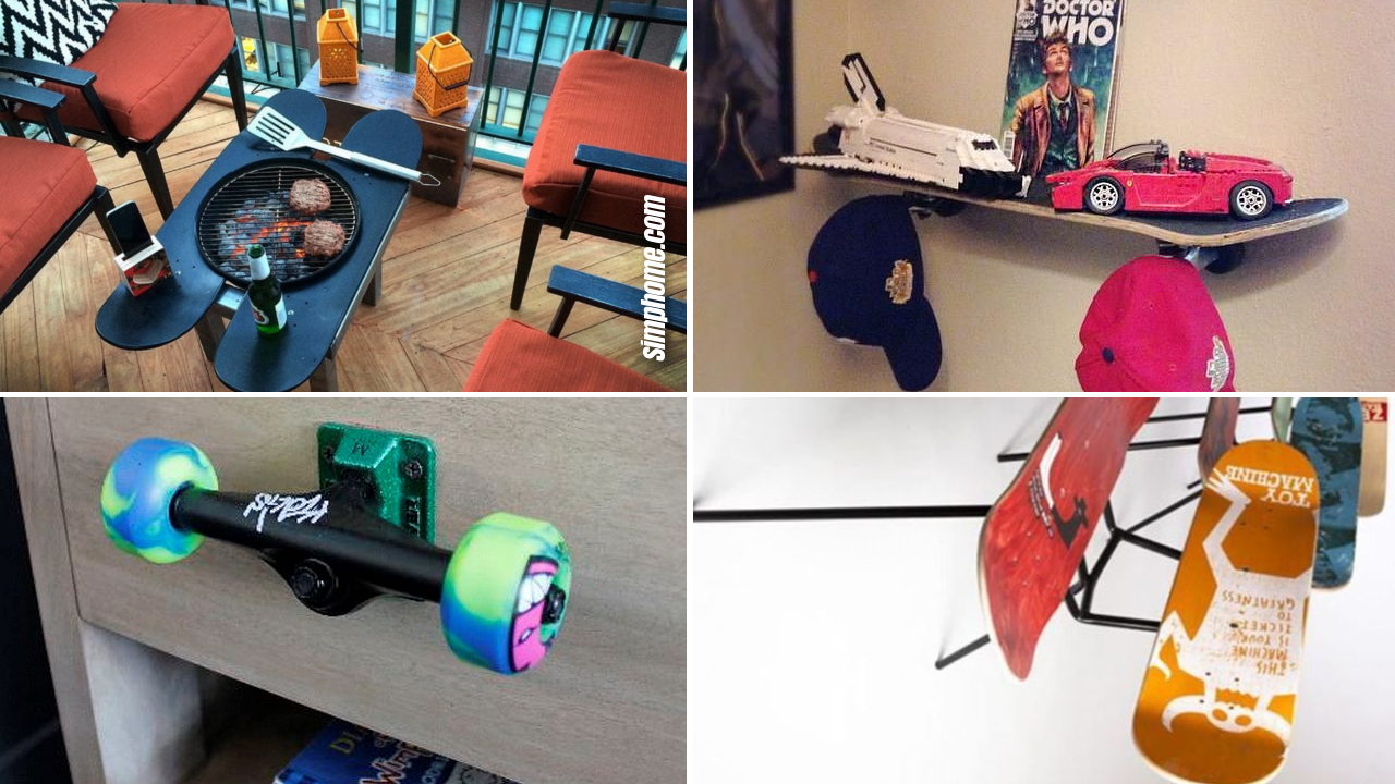 SIMPHOME.COM 10 DIY Improvement Ideas Using Used Skateboards
