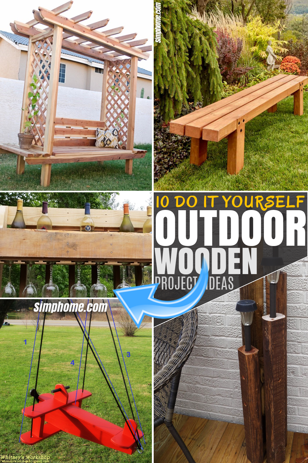 SIMPHOME.COM 10 DIY Outdoor Wood Projects Pinterest Image
