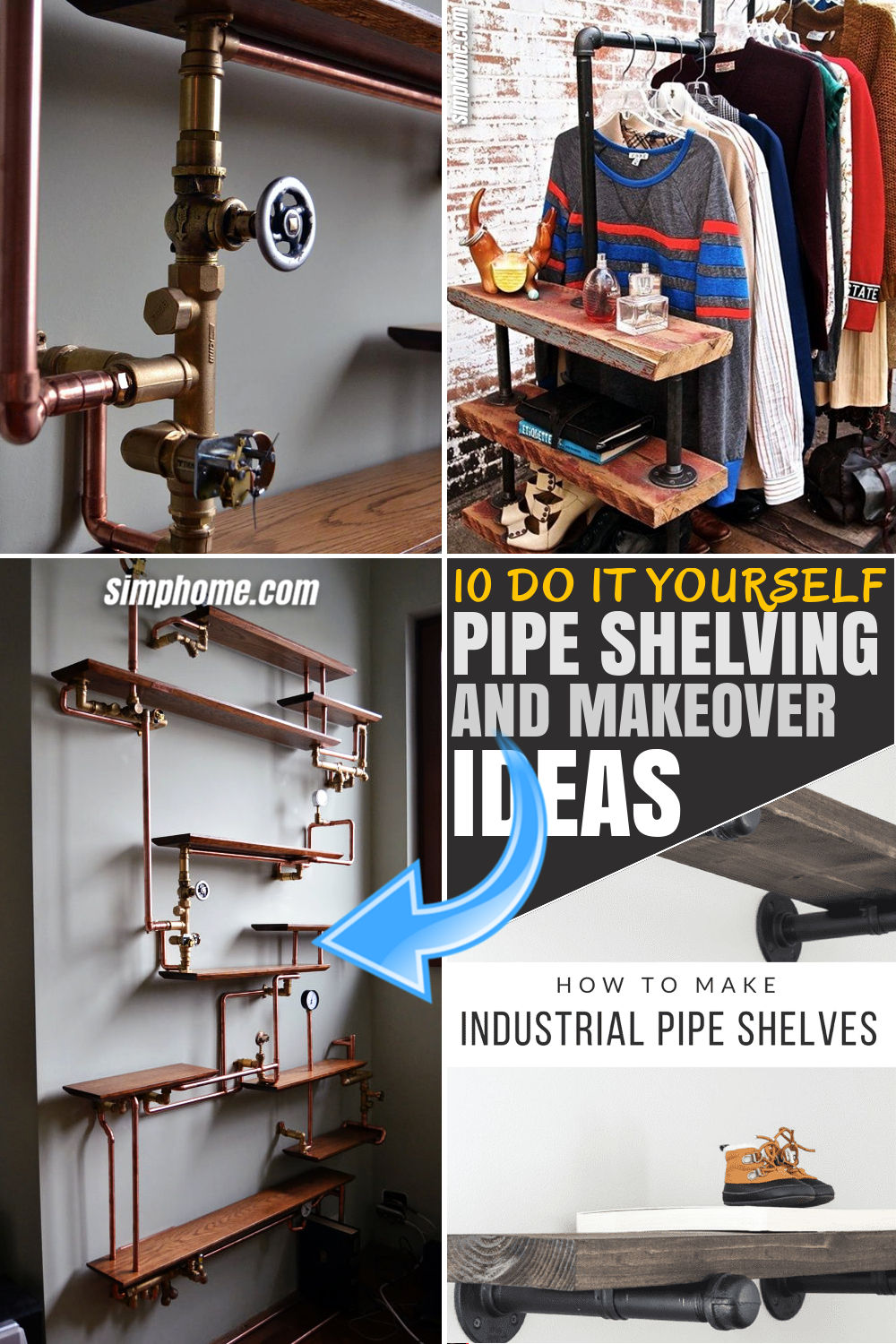 SIMPHOME.COM 10 DIY Pipe Shelving Ideas FEATURED PINTEREST