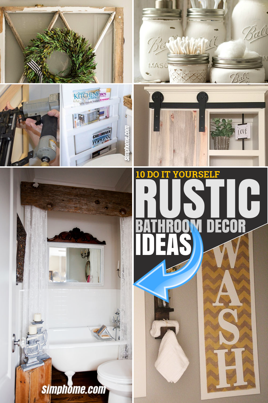 SIMPHOME.COM 10 DIY Rustic Bathroom Decor Ideas.Featured Pinterest Image
