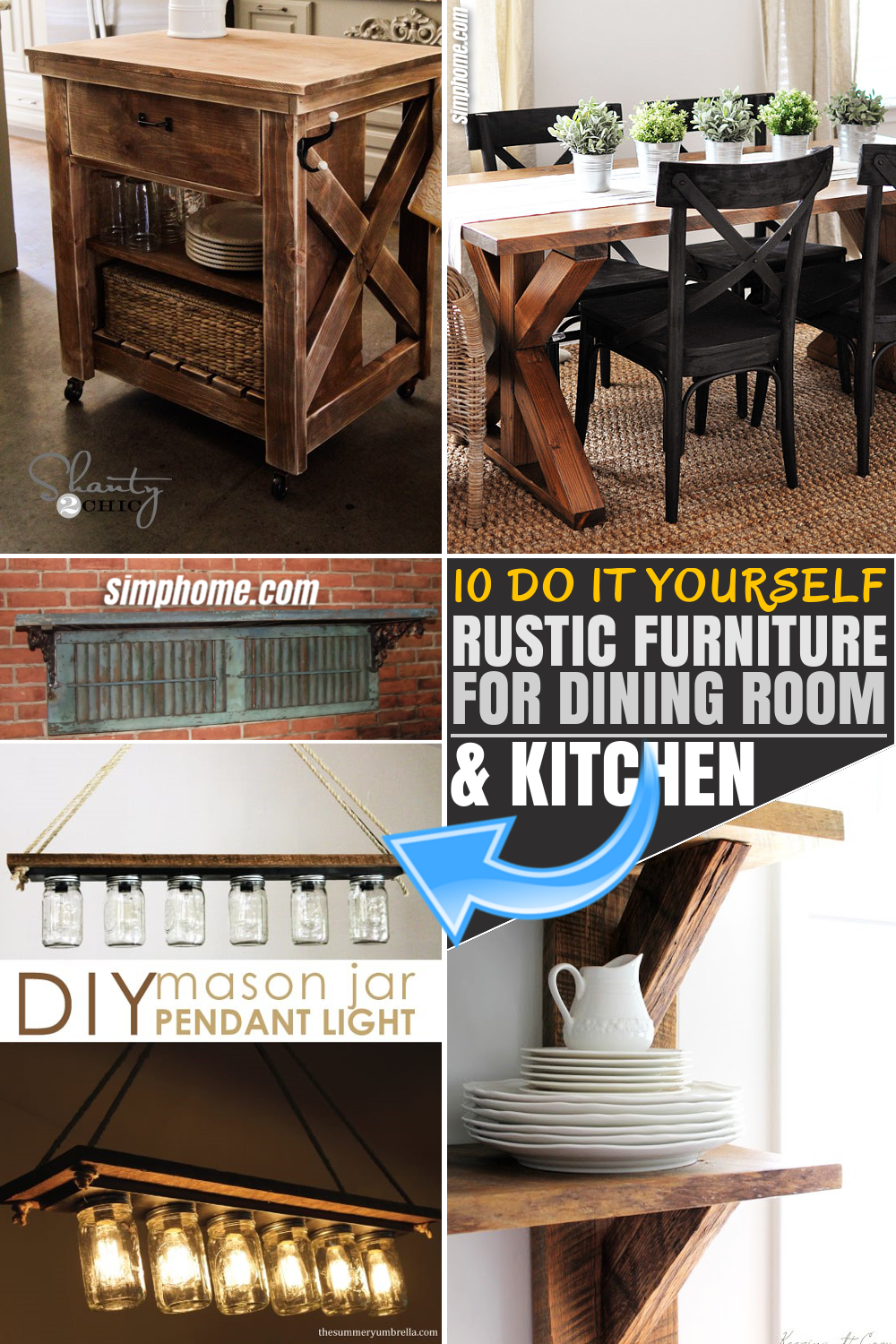SIMPHOME.COM 10 DIY Rustic Furniture Ideas for Dining Room and Kitchen Pinterest Image Featured