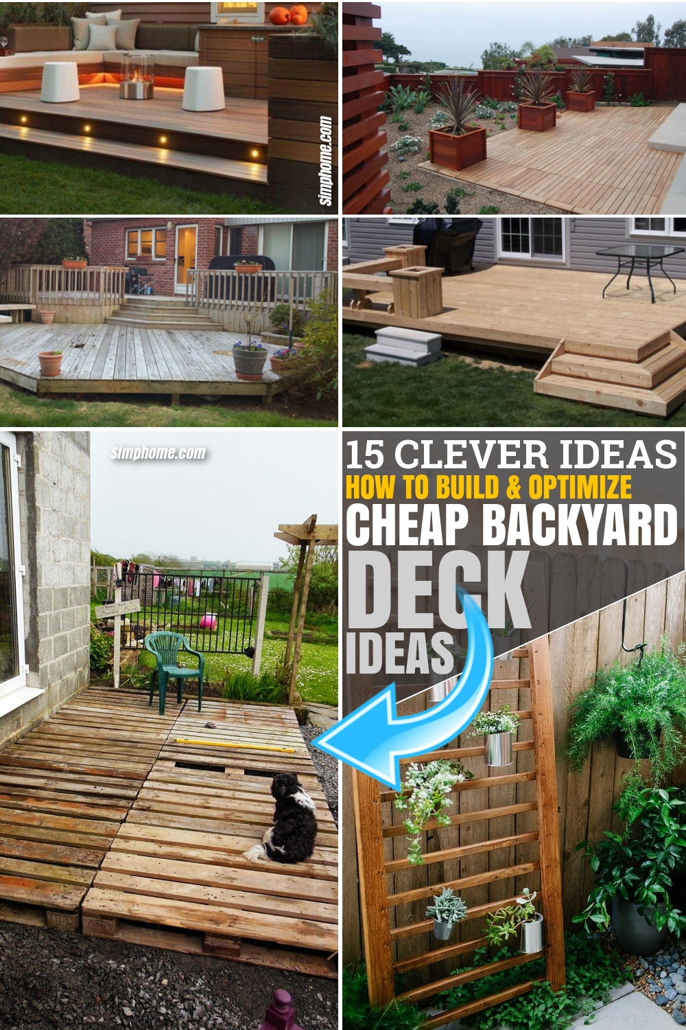 SIMPHOME.COM 10 Ideas How to Makeover Cheap Backyard Deck Ideas Pinterest Featured Image