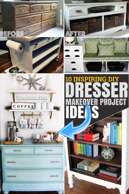 SIMPHOME.COM 10 Inspiring DIY Dresser Makeover Projects Poster image