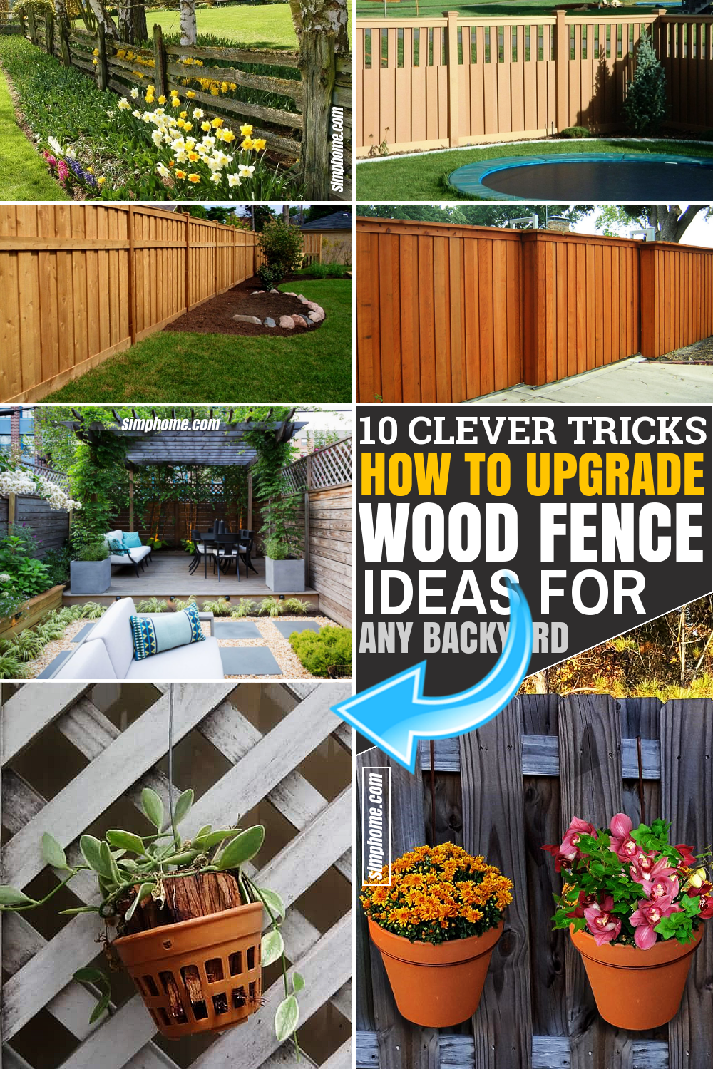 SIMPHOME.COM 10 Tricks How to Upgrade Wood Fence Ideas for Backyard Featured Pinterest