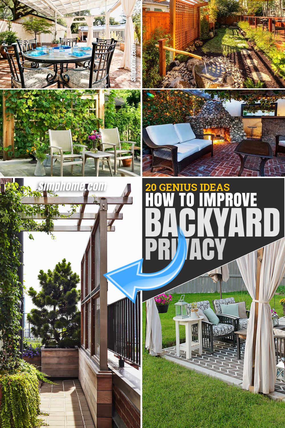 SIMPHOME.COM 10 Ways on How to Improve Backyard Privacy Featured Image Pinterest