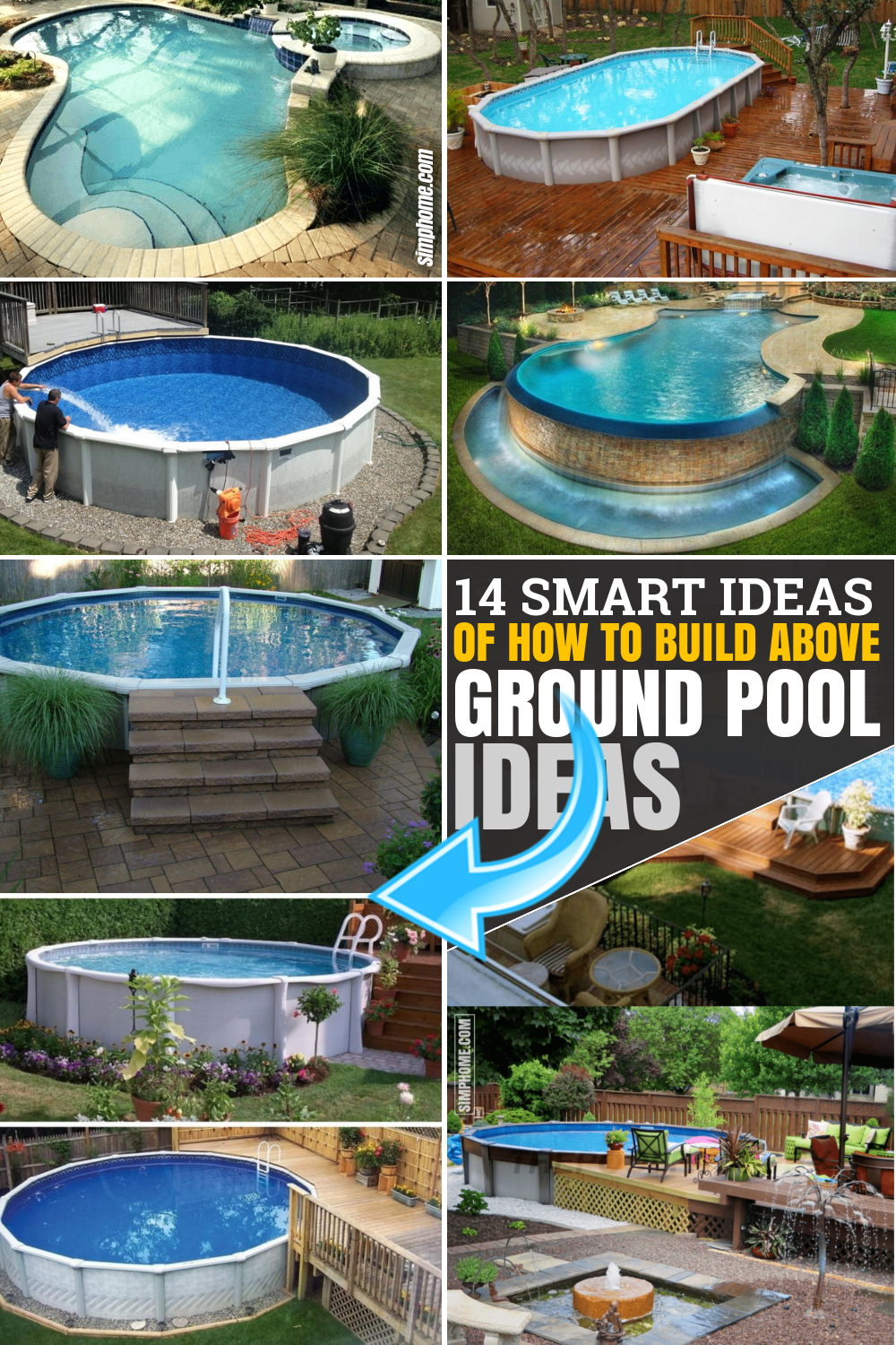 SIMPHOME.COM How to Build Above Ground Pool Backyard Ideas Pinterest Featured Image