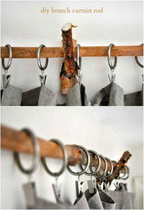 10. SIMPHOME.COM A Branch Curtain Rod