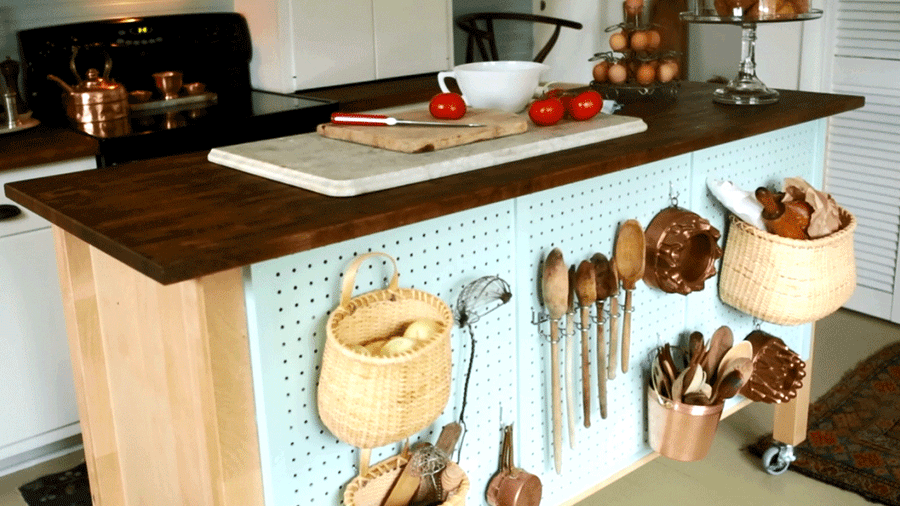 6.Simphome.com Pegboard on Kitchen Island