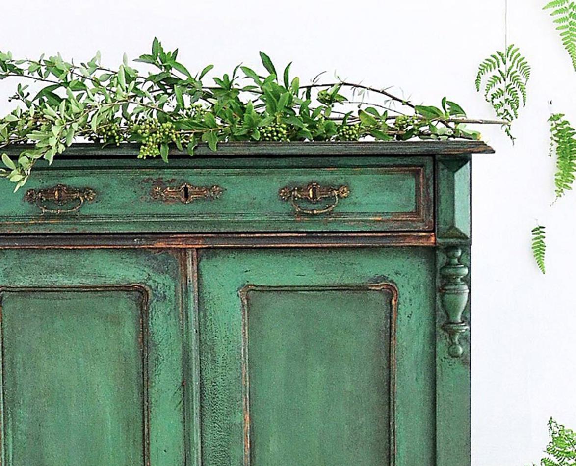 8. SIMPHOME.COM Antique Green Cupboard