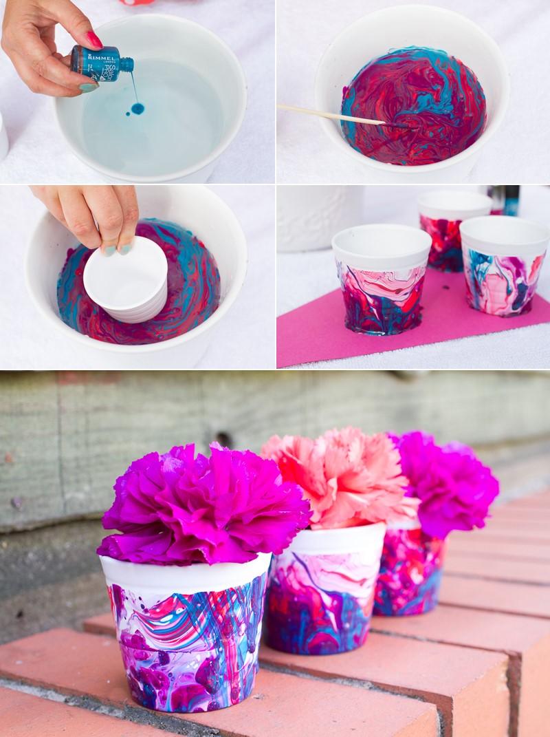 8.SIMPHOME.COM Marble Effect Flower Pot
