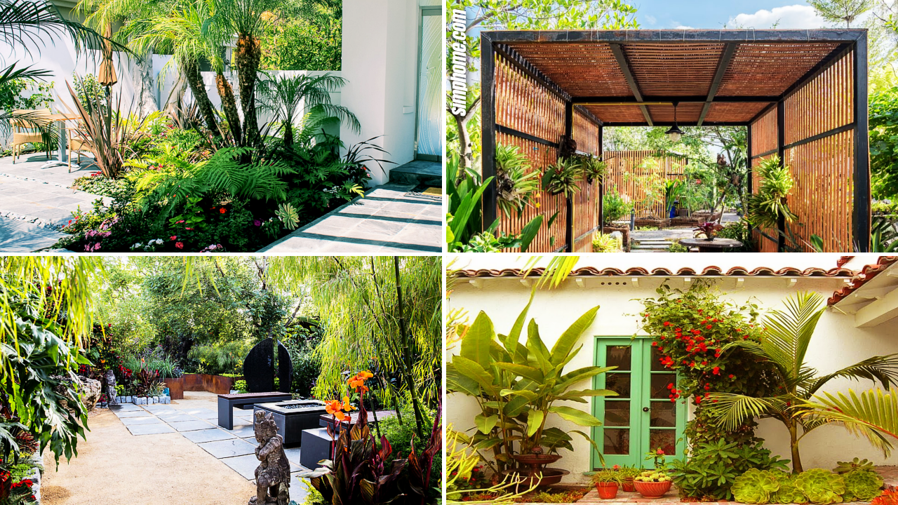 SIMPHOME.COM 10 Awesome Ideas How to Make Small Tropical Backyard Ideas Featured Image