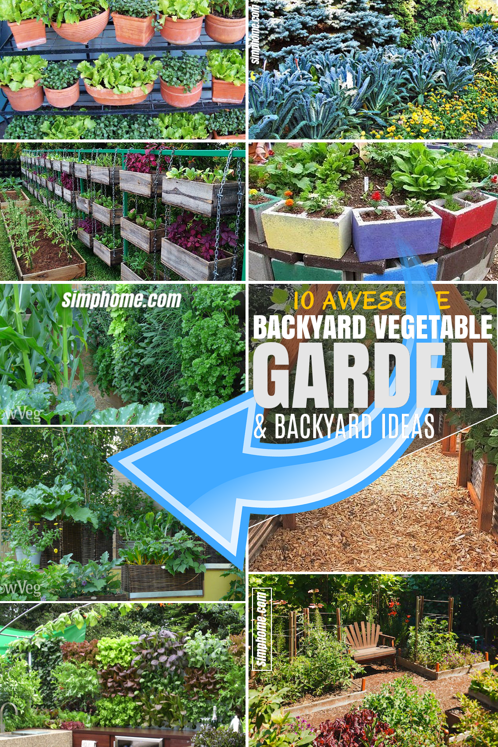 SIMPHOME.COM 10 Backyard Vegetable Garden Ideas FEATURED PINTEREST
