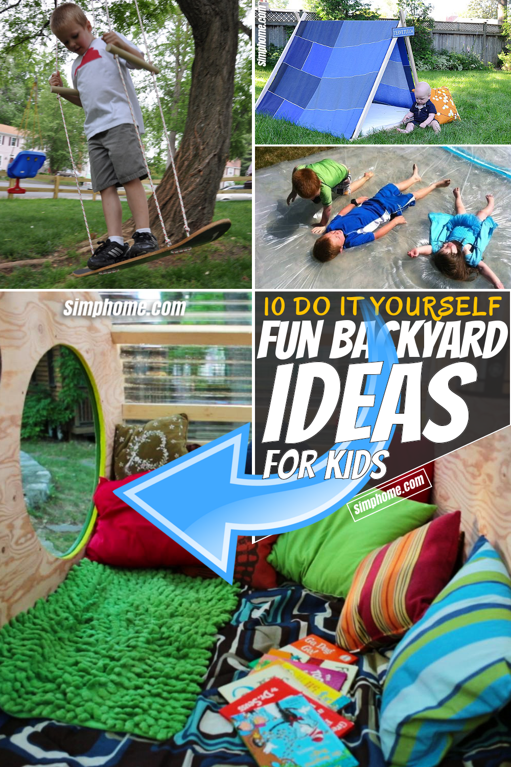 SIMPHOME.COM 10 Clever Tricks of How to Build Fun Backyard Ideas for Kids Featured Pinterest Image