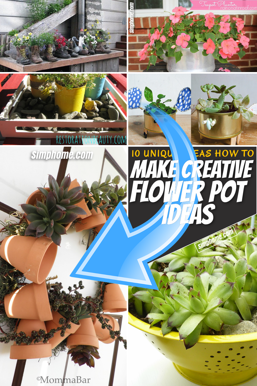 SIMPHOME.COM 10 Creative Flower Pot Ideas Pinterest Featured Image