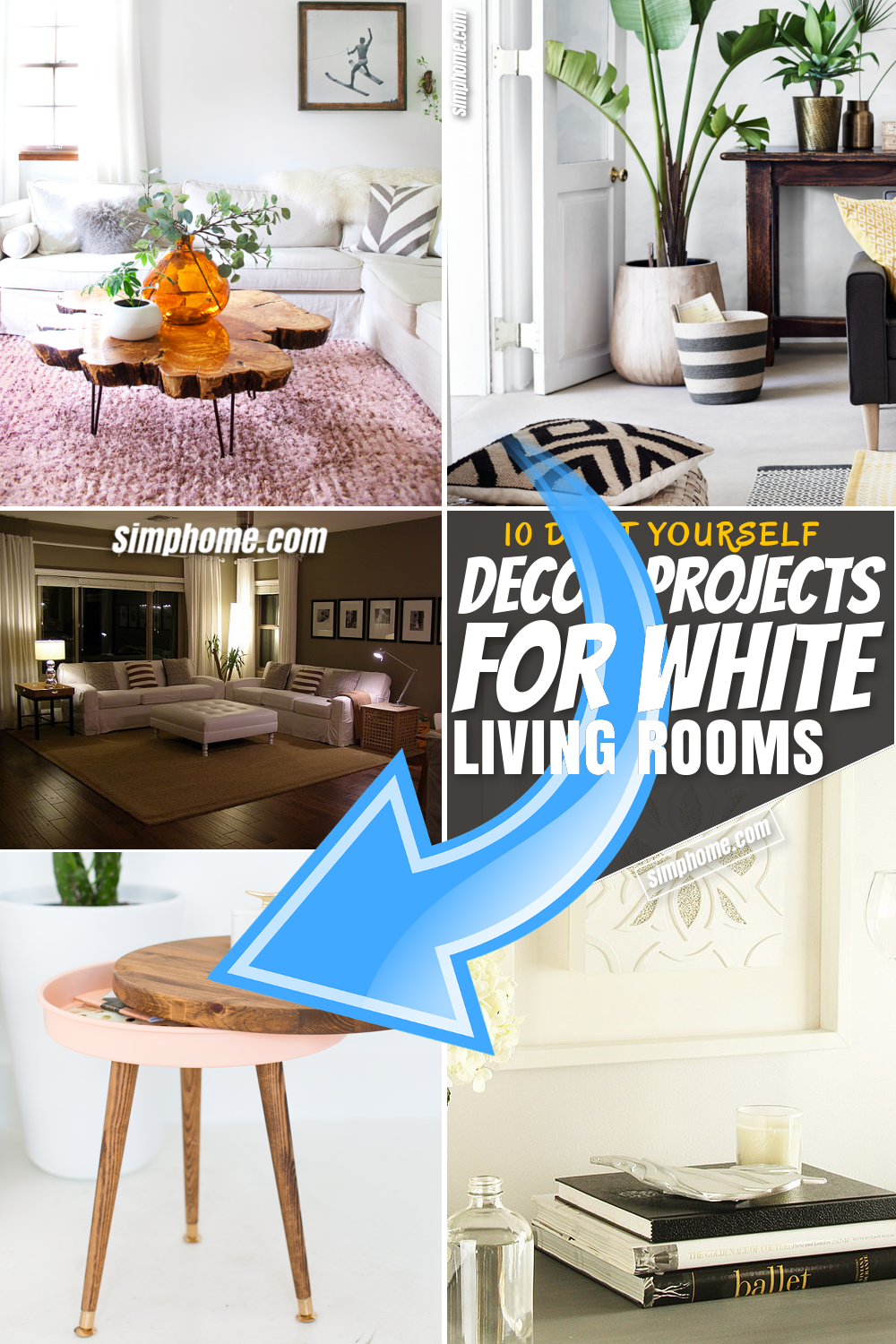 SIMPHOME.COM 10 DIY Decor Project for White Living Room Pinterest Featured Image