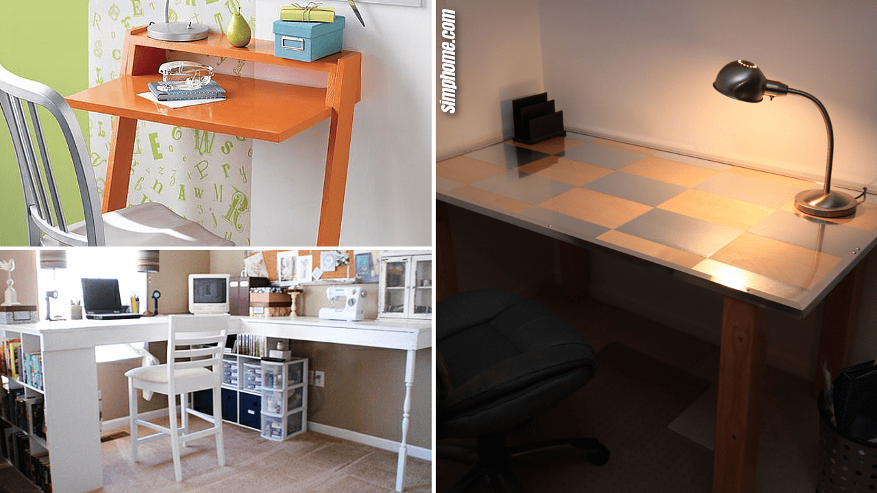 SIMPHOME.COM 10 DIY Desk and Table Ideas for a Home Office Featured Image