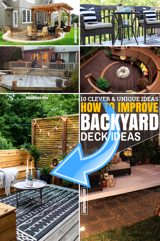 SIMPHOME.COM 10 Ways How to Improve Backyard Deck Ideas Featured Pinterest