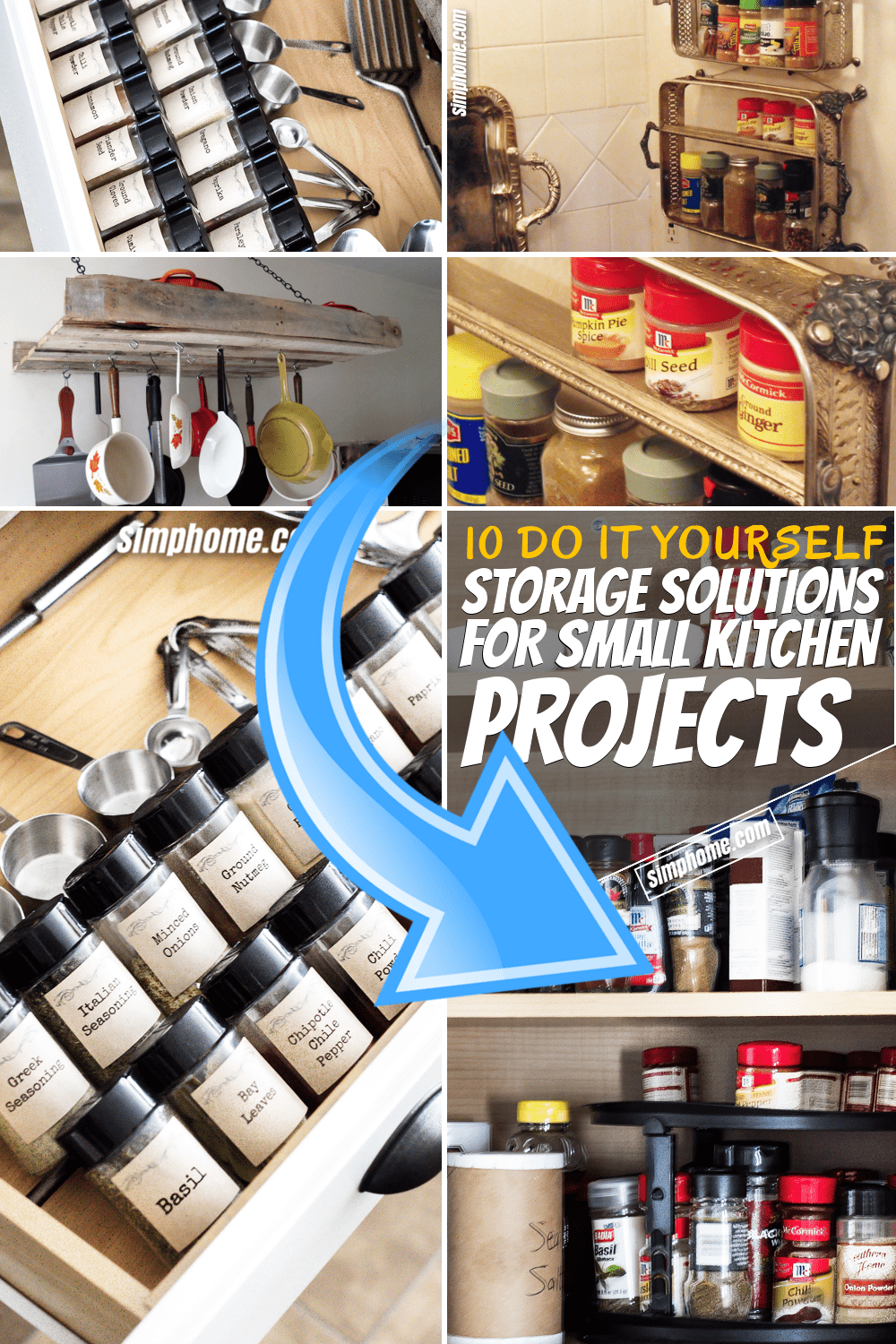 Simphome.com 10 DIY Storage Solution Projects for Small Kitchens Pinterest Featured Image