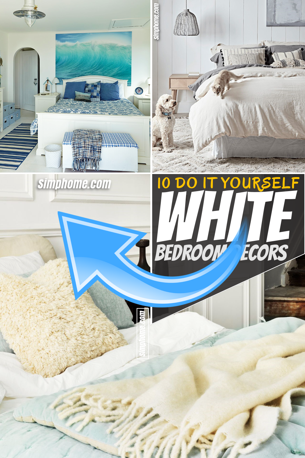 Simphome.com 10 Decor Ideas that spruce up your white bedroom Pinterest Featured