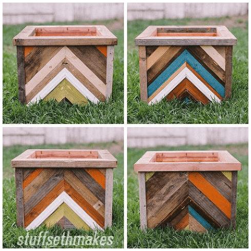 1.Simphome.com Wood Chevron Planter Box