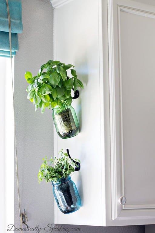 3.Simphome.com Hanging Mason Jar Herb Garden