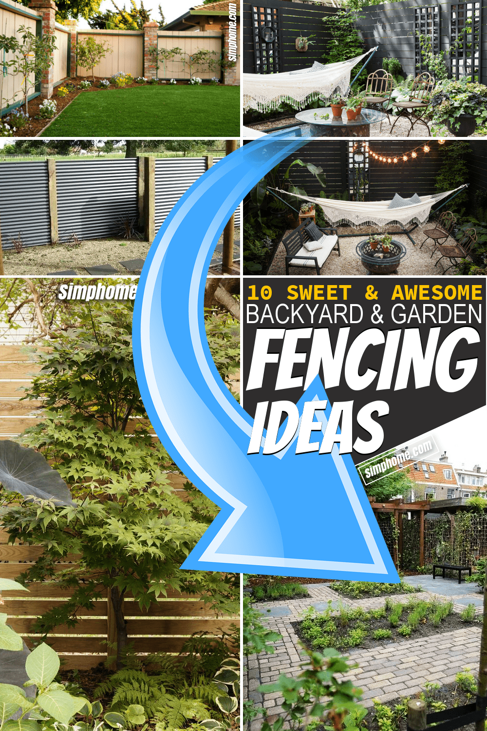 Simphome.com 10 Backyard and garden fencing ideas Featured Pinterest Image