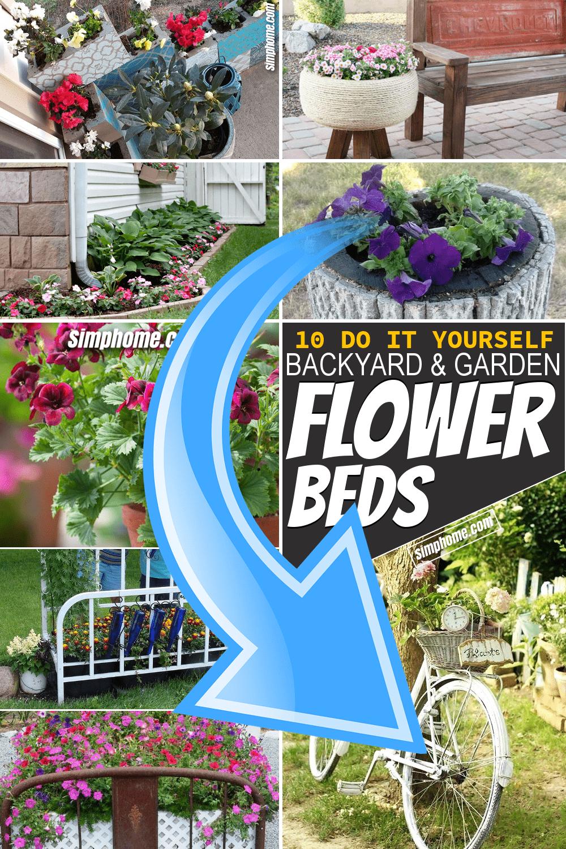 Simphome.com 10 DIY Flower Bed Ideas Pinterest Featured Image