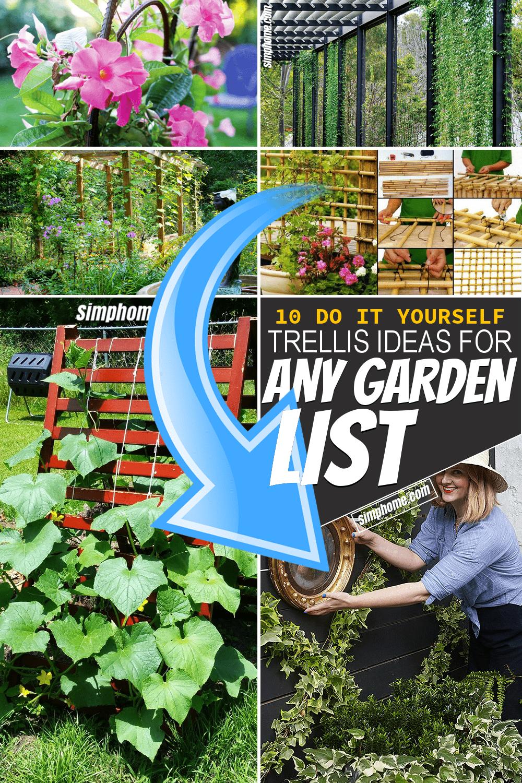 Simphome.com 10 DIY Trellis Ideas for any Garden Featured Pinterest Image