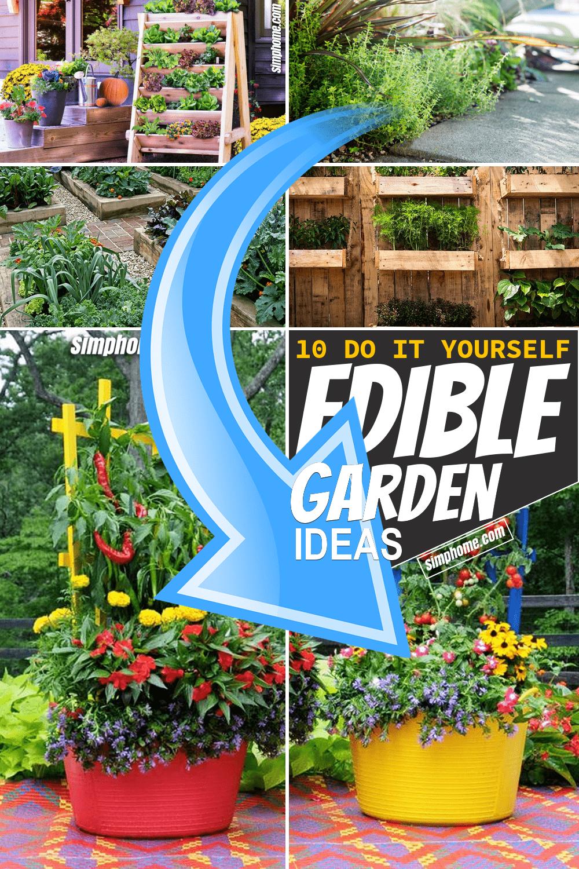 Simphome.com 10 Edible Garden Ideas Long Pinterest Image