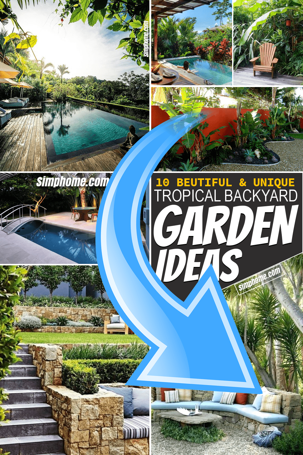 Simphome.com 10 Tropical Backyard Garden Ideas Featured Pinterest