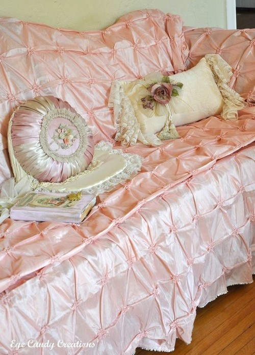 2.Simphome.com Vintage Peach Satin Sofa Cover Idea