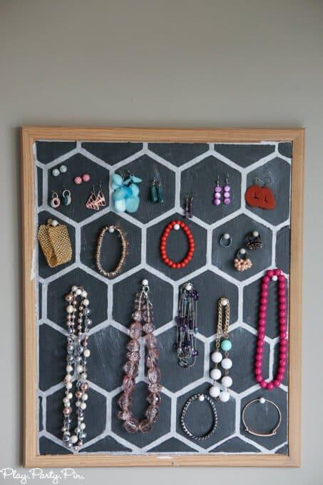 8.Simphome.com Cork Board Jewelry Holder