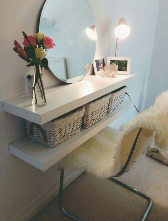 8.Simphome.com Turn Shelves into a Space Saving Dressing Table
