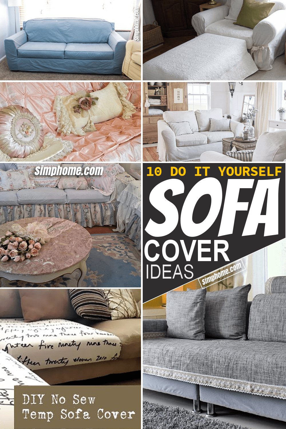 Simphome.com 10 DIY Sofa Cover ideas Featured Image Pinterest