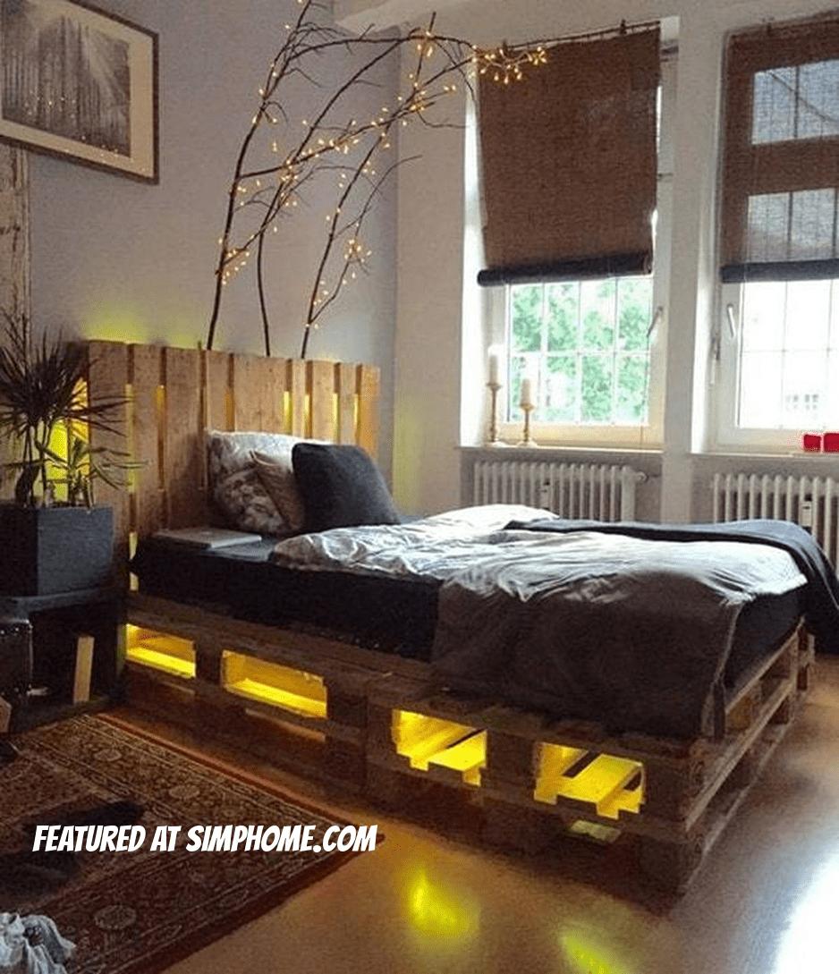 4.Simphome.com Pallet Bed Slats under the Futon